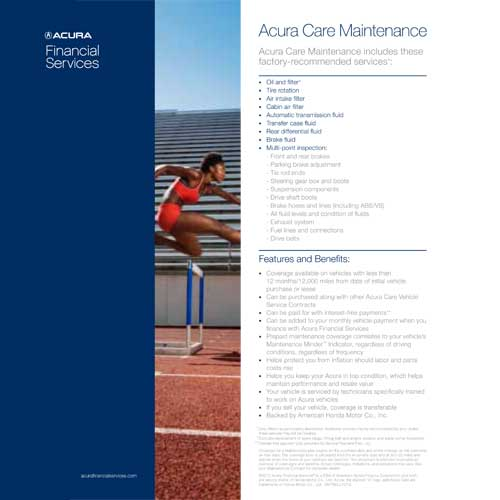 Acura Care Application , Brochures & Contract